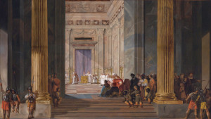 The Queen of Sheba before the temple of Solomon in Jerusalem *oil on panel *58.4 x 102.9 cm *inscribed on the column l.: IACHIN *inscribed on the column r.: BOOZ *signed b.l.: 57 6/5 and indistinctly ...y 1657