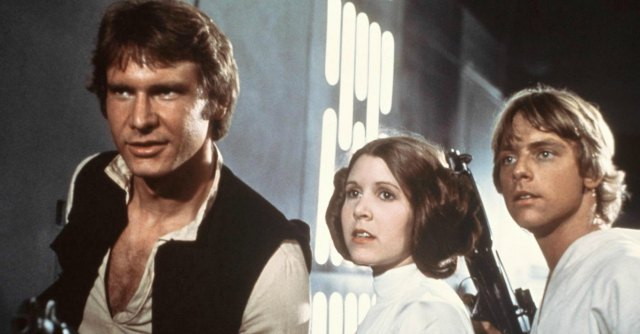 Harrison Ford, Carrie Fisher e Mark Hamill in guerre stellari del '77