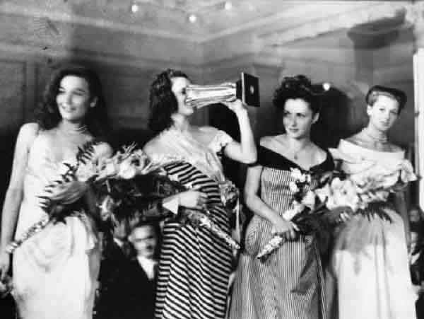 Miss Italia 1947- Gianna Maria Canale (second place), Lucia Bosè (Miss Italia 1947), Gina Lollobrigida (third place) and Eleonora Rossi Drago.