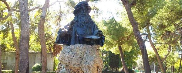 statua di Leonardo da Vinci Villa Peripato